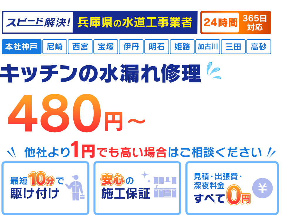 スピード解決!神戸市の水道工事業者 神戸市のキッチン水漏れ修理480円~