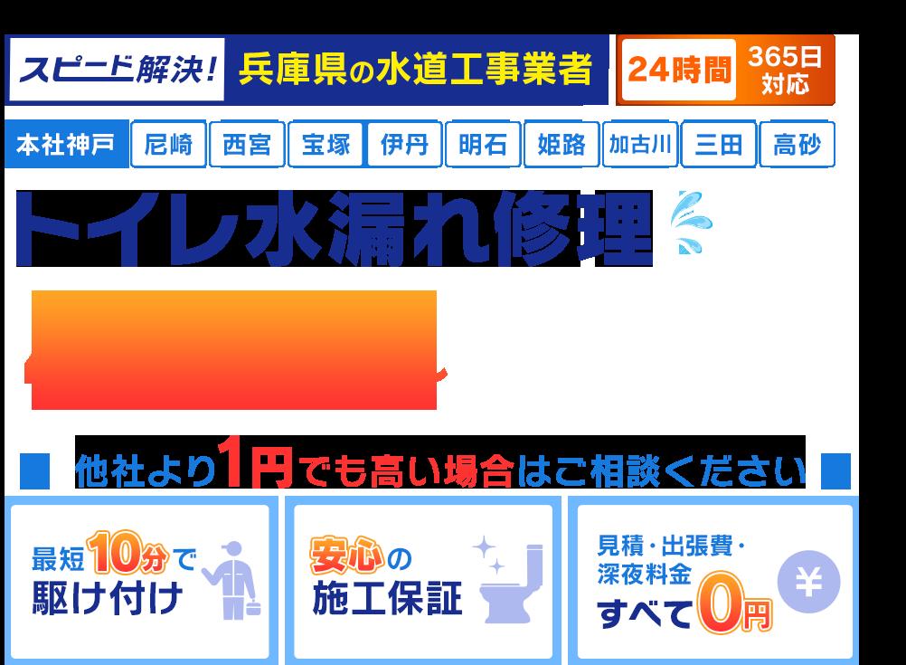 スピード解決!神戸市の水道工事業者 神戸市のトイレ水漏れ修理480円~