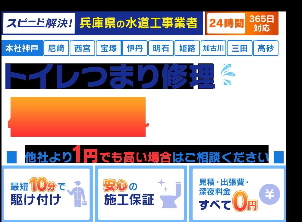 スピード解決!神戸市の水道工事業者 神戸市のトイレつまり修理480円~
